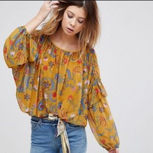 Free People XS Wildflower Honey Floral Top